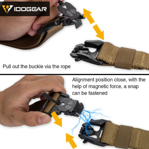 """IDOGEAR Tactical Belt Magnetic Buckle 1.5/"""" Mens Belt Quick Release Airsoft Daily"""