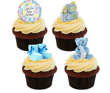 Baby Shower Twin Boys Edible Cup Cake Toppers, Stand-up Fairy Decorations Blue