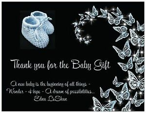 BABY BOY Blue Booties Shower Gift THANK YOU Flat Cards Envelopes & Seals