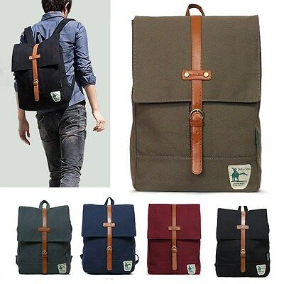 "New Men Women Canvas Schoolbag BACKPACK Laptop 15"" Rucksack Travel Bag [1007]"