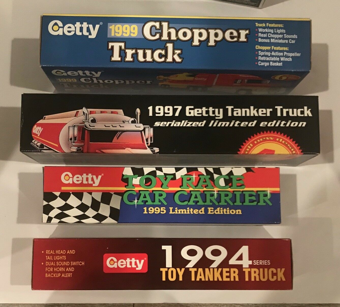 LOT OF 5 GETTY 1 32 SCALE TANKER TRUCKS + CAR CARRIER 1994-99 1ST-6TH IN SERIES