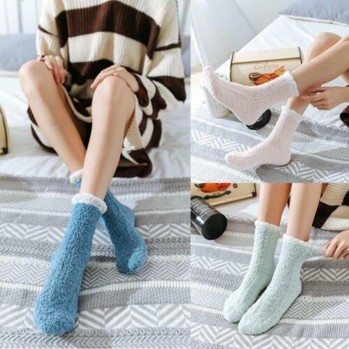 Womens Winter Warm Coral Velvet Fuzzy Slipper Socks Cable Ladies Fluffy Hosiery