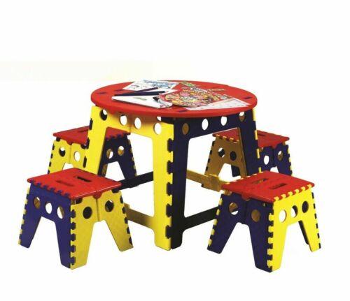 5Pcs Multi kids Children Foldable Table /& Matching Stool Strong Plastic New