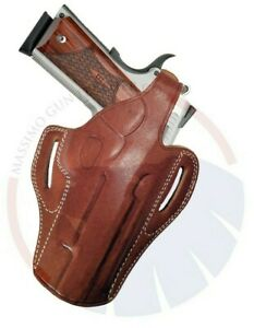 OWB Concealed Carry Leather Thumb Break Belt Holster for