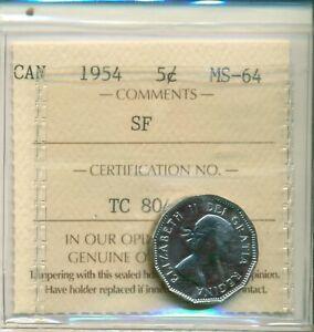 ICCS-Canada-1954-5-cents-MS-64-SF-TC-804