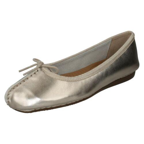 Damen clarks Leder Slipper Schleife Ballerina Flache Schuhe Freckle Eis Größe