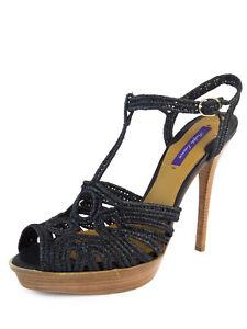 afbdc24b2be Details about RALPH LAUREN Purple Label Women's Black Woven Platform  Sandals Sz 11 NEW