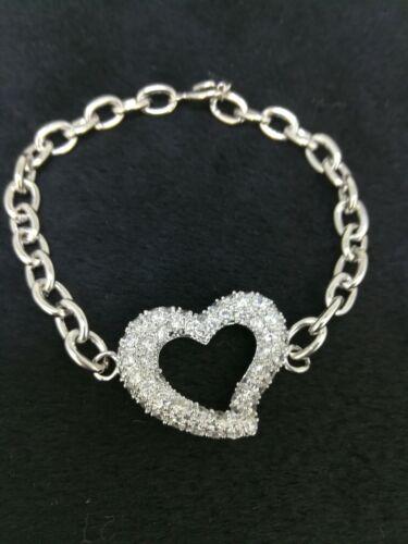Elegant 18k White Gold Filled GF Heart CZ Bracelet Charm Woman Gift BL-A395