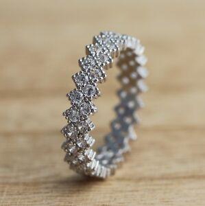 925-Sterling-Silver-Full-Eternity-Stacking-Zig-Zag-Design-CZ-Band-Ring-J-Q-Sizes