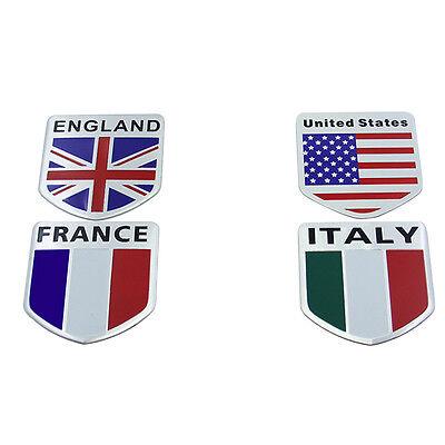 UK Italy Flag France US Flag Shield Aluminum Car Motorcycle Stickers Tail Emblem