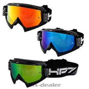 Hp7-Motocross-Enduro-Occhiali-Nero-a-specchio-vetro-chiaro-Crossbrille-MTB-QUAD