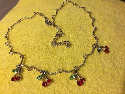 """Grandmas Estate Silvertone Cherries  Red Stone  18"""" Necklace (mia)"""