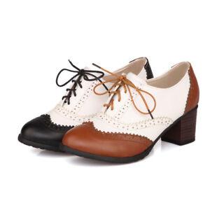 Casual-Women-High-Block-Heel-Wingtip-Oxford-Shoes-Lace-Up-Pumps-Retro-Brogues