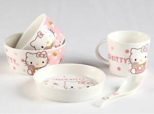 New Cute 5pcs Hello Kitty Ceramic Bowl Cup Dish Spoon Dinner Set