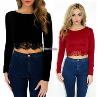 New Women Fashion Round Neck Long Sleeve Lace Crop Top Tops T-shirt Blouse BF9