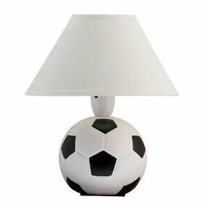 Black n white football bedside table lamp and white shade ebay image is loading black n white football bedside table lamp and mozeypictures Images