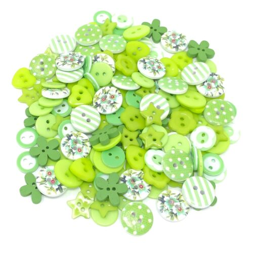 Green//White 150 Mix Wood Acrylic /& Resin Buttons For Cardmaking Embellishments
