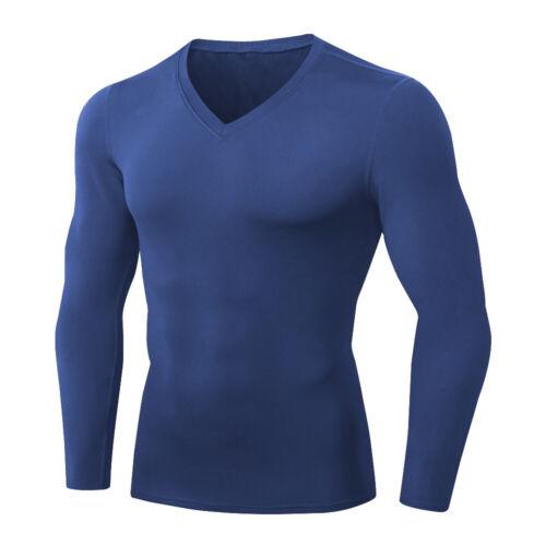Mens Fleece Thermal Compression Baselayer Long Sleeved V Neck T-Shirt Warmth Top