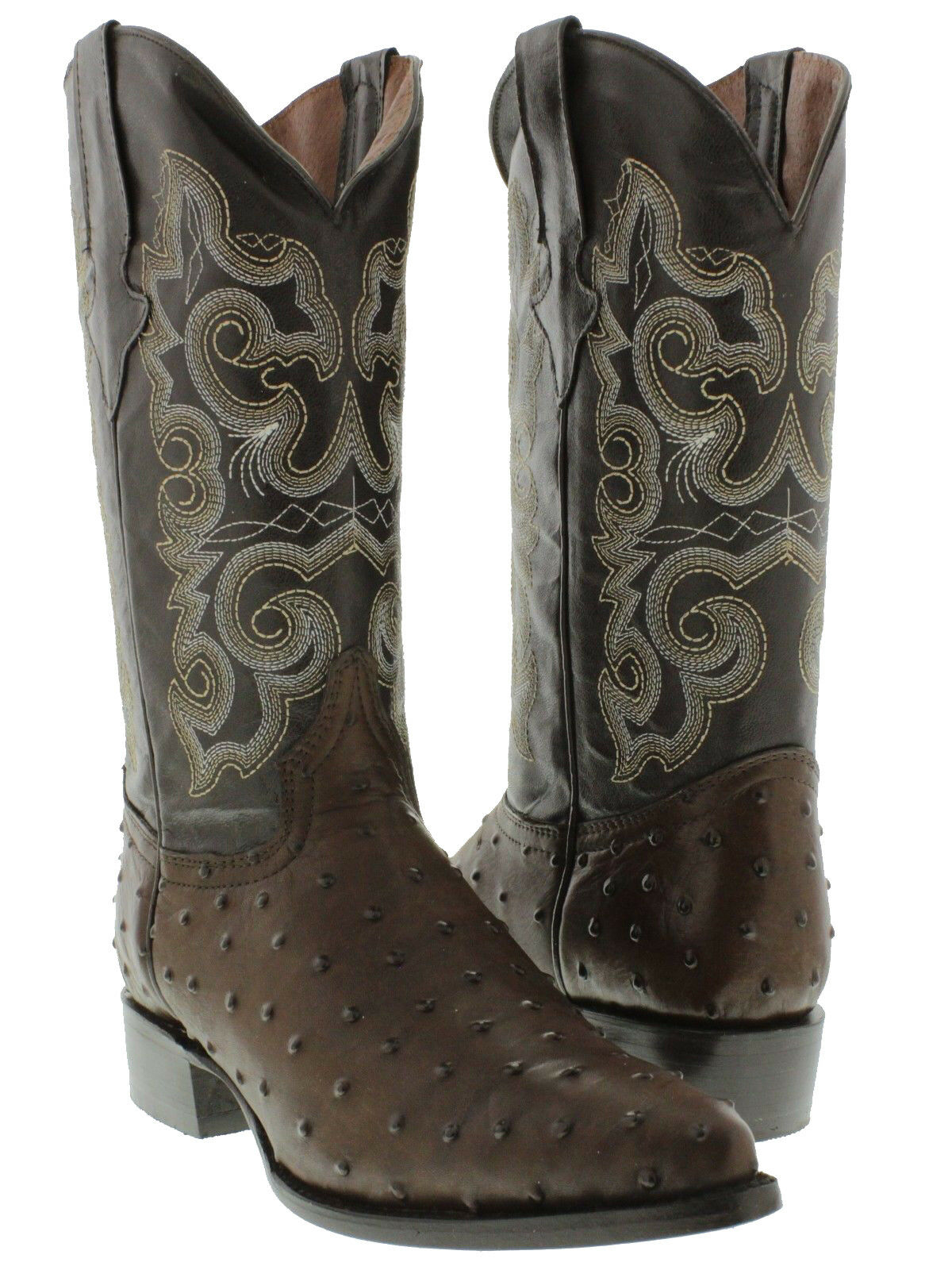 Mens Brown Ostrich Quill Print Western Exotic Cowboy Leather Rodeo Boots J