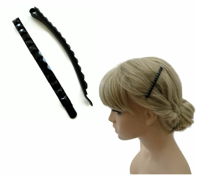 8 cm Long Jet Black Bead Hair Slide Grip 2 on a card