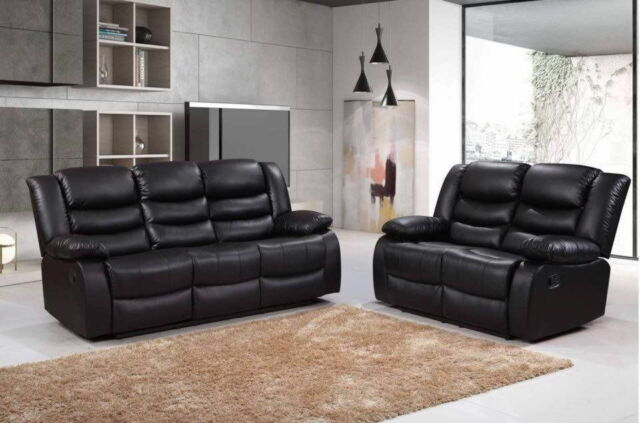 Romano 3 2 Seater Black Leather Sofa Suite For Living Room Recliners