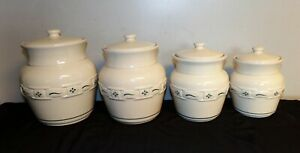 Longaberger-Pottery-Woven-Traditions-Canister-Set-of-4-Heritage-Green-USA