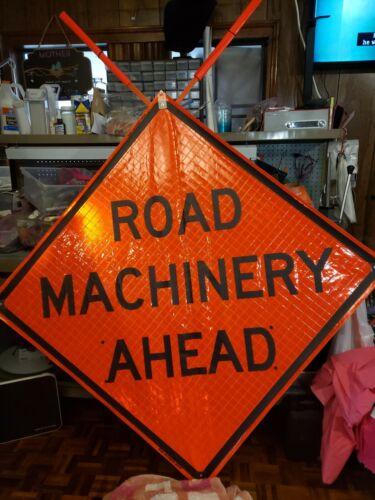 "Road Machinery Ahead Reflective Vinyl w//Ribs Road Sign 48/""X 48/"" Portable New"