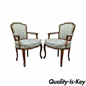 Pair Of Vtg French Louis Xv Style Living Room Chairs Lounge Provincial Country Ebay