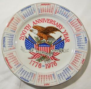 200th Anniversary Year 1776-1976  Calendar Collector Plate Red White and Blue