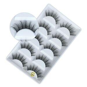 4da2950be19 5 Pair 3d Mink False Eyelashes Wispy Cross Fake Long Thick Soft Eye Lashes  UK