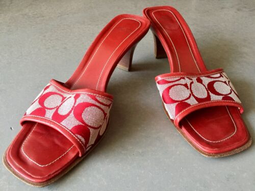 9 5 Coach slides kitten gwyneth Monogram Heel Canvas Red Mules 4zRw8qUUT