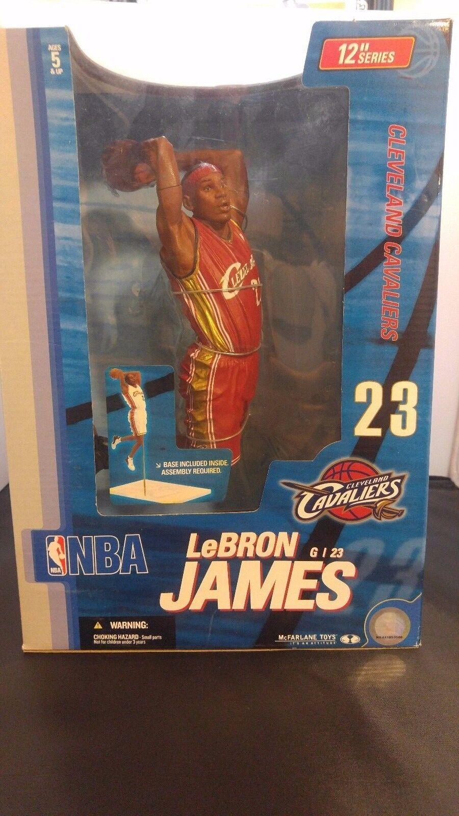 NIB McFarlane LeBRON JAMES CAVS ROOKIE 2004 Red Uniform 2nd NBA 12  Figure