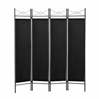 Room Divider Screen Folding Partition Privacy 4 Panel Fabric Metal Frame Black