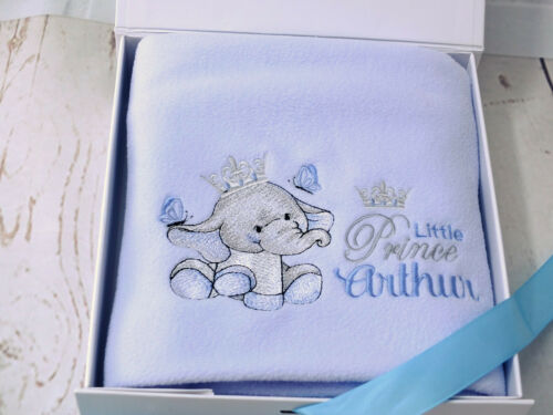 Personalised baby boy blanket embroidered little elephant design gift boxed