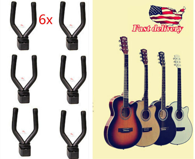 6PC Adjustable Guitar Wall Mount Hanger Stand Holder Hook Display Electric Bass