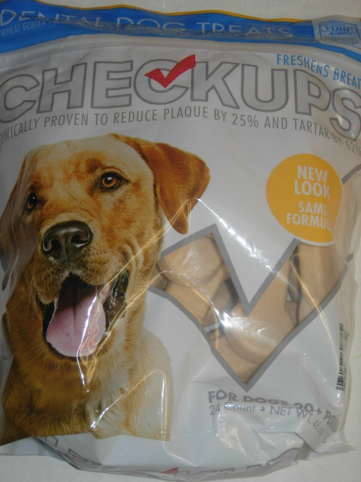 12 LBS of Checkups Dental Dog Treats Reduces Plaque by 25% 20 lb or Larger Dogs