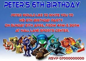 40-personalised-Childrens-Birthday-invitations-Skylanders-Kids-party-invites