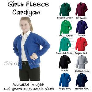Girls-School-Cardigan-Fleece-Sweatshirt-Uniform-Age-2-3-4-5-6-7-8-9-10-11-12-13