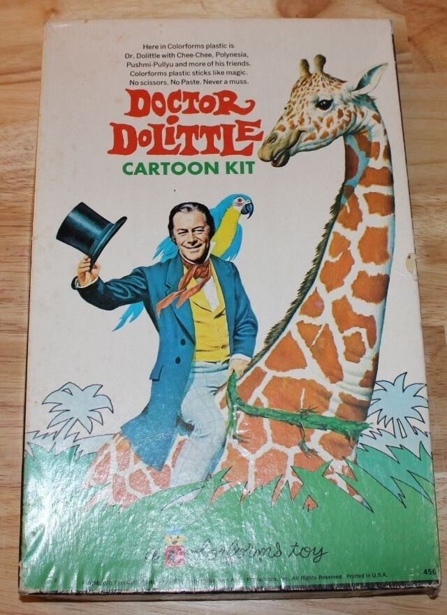 VINTAGE 1960's DOCTOR DR DOLITTLE COLORFORMS BOX PLAYSET COMPLETE WITH BOOKLET