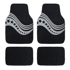 Universal-Waterproof-Stars-Coil-Car-Floor-Mats-Durable-Black-and-White-4-PCS