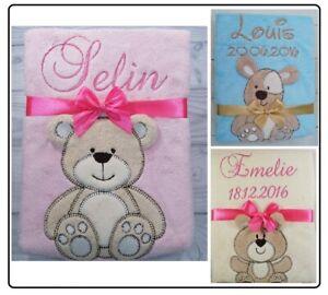 Babydecke mit Namen und Datum bestickt,Geburt,Taufe,Geschenk