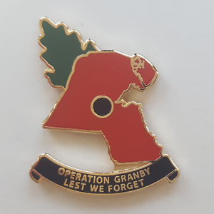 Operation Op GRANBY NEW Gen.2 Gulf War 1 Kuwait shaped Poppy badge