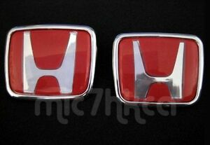 2x Red Type R Style Honda Hood Boot Badge Emblem 65x55mm 74x62mm Uk Stock Ebay