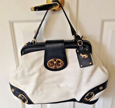 Emma Fox Purse White Black Gold Leather Flap Satchel Handbag Shoulder Bag