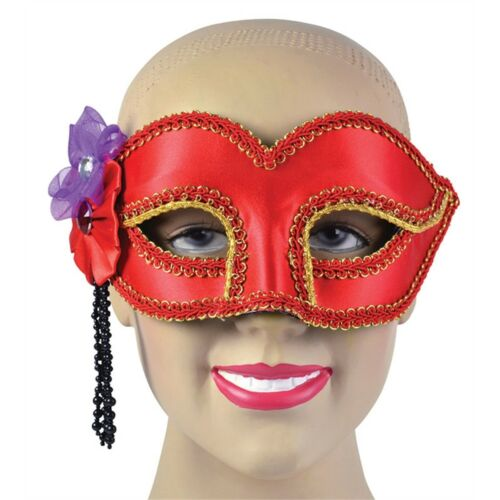 Red Satin Eye Mask With Flower - Fancy Dress Masquerade Frame Party Glass All