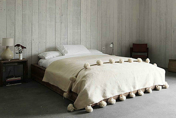 Cream Berber MGoldccan pom pom blanket, ,60 x 80 inches natural Wool