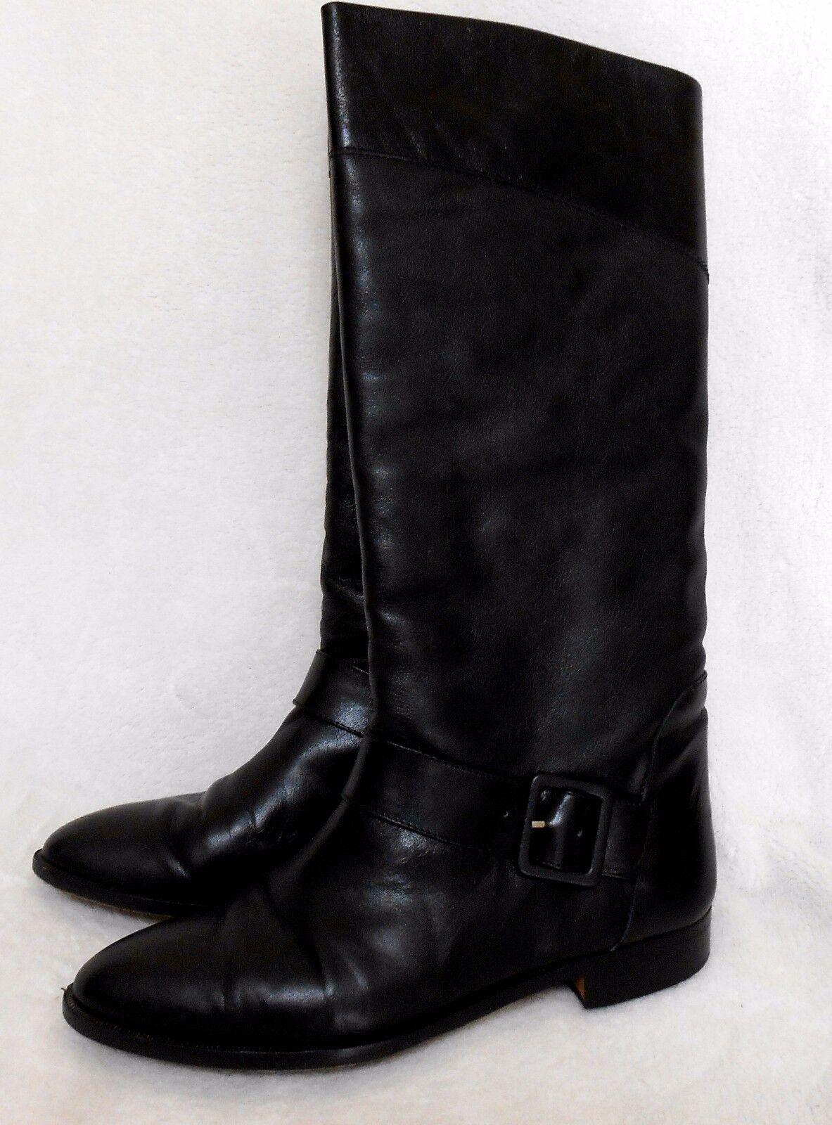 Petit Fleur De Cuero Negro botas Altas, hecho en Italia, euro 9,  con Caja