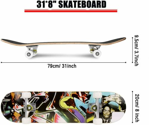 Complete 4 Wheel Skateboard  for Beginners Boys Girls Adults 7 Lays Maple Wood