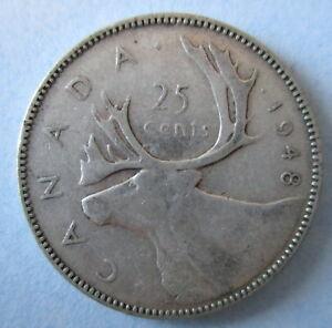 1948-CANADA-25-KING-GEORGE-VI-SILVER-QUARTER-COIN-KEY-DATE