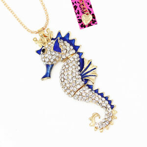 Betsey-Johnson-Enamel-Crystal-Crown-Sea-Horse-Pendant-Sweater-Chain-Necklace